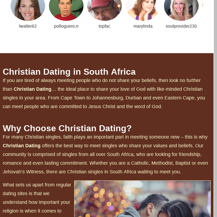 Completely free christian hookup sites in south africa