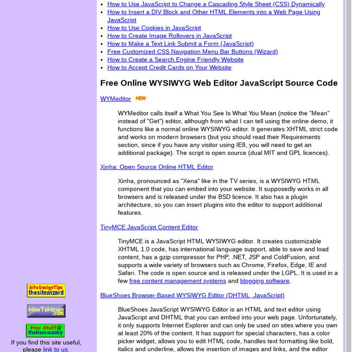 Mix · Free Web-Based WYSIWYG HTML Editors JavaScripts