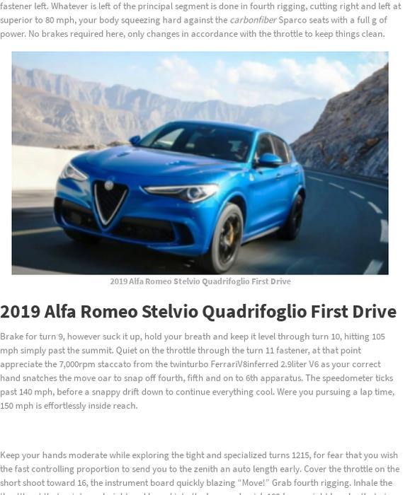 Mix 2019 Alfa Romeo Stelvio Quadrifoglio First Drive