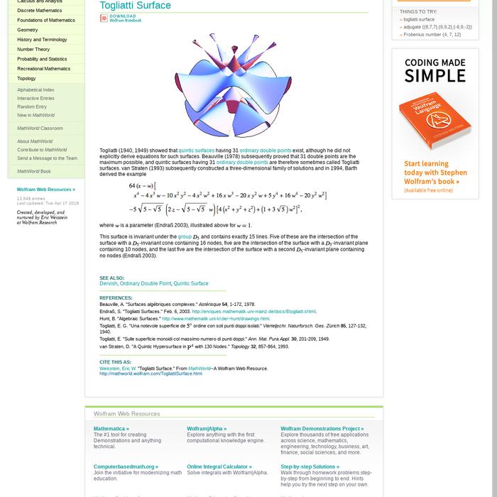 Mix · Togliatti Surface -- from Wolfram MathWorld
