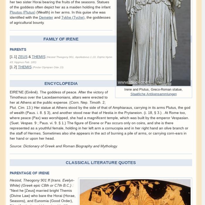 Mix Irene Eirene Greek Goddess Hora Of Peace Roman Pax