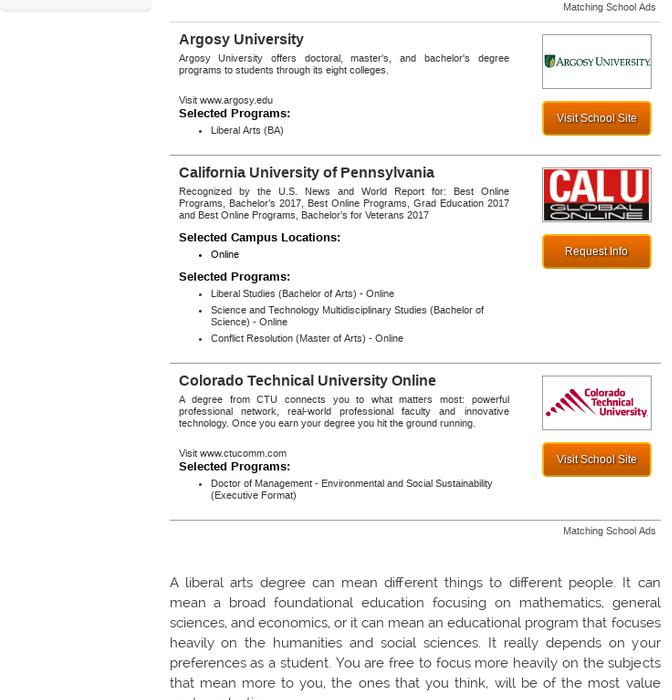 Mix · Liberal Arts Schools & Degree Programs