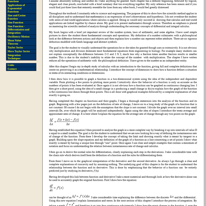 a paper on calculus ideas focusing on the topics of the integral and the derivative Some application of calculus essay calculus: calculus (latin, calculus, a small stone used for counting) is a branch of mathematics focused on limits, functions, derivatives, integrals, and infinite series.