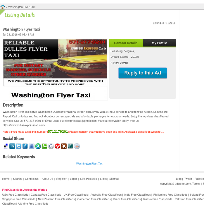 Mix · Washington Flyer Taxi - Leesburg free Ads